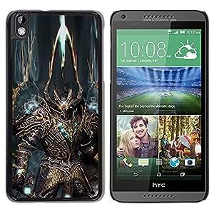 PC/Aluminum Funda Carcasa protectora para HTC DESIRE 816 Robot Alien Warrior Sword Art Armour Blue / JUSTGO PHONE PROTECTOR