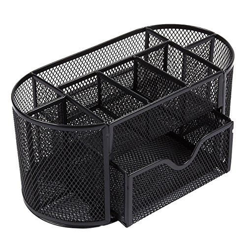 Office Desk Organizer - 8-Compartment Desk Caddy Mesh Organizer with Drawer for Office Supplies and Accessories, 8.66 x 5 x 5.11, Oval, Black (Creative Caddy)