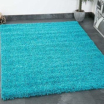 Prime Shaggy Teppich Farbe Türkis Hochflor Langflor Teppiche Modern Für  Wohnzimmer Schlafzimmer 60x100 Cm