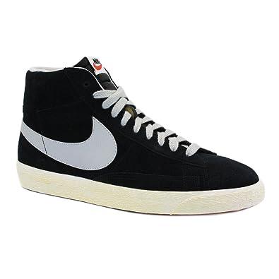 c9958f2dd318 ... Nike Blazer Mid Suede Vintage 538282 010 Womens Laced Suede Trainers  Black Grey - ...