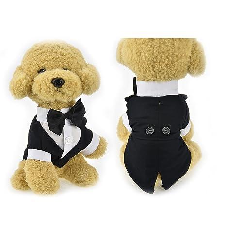 Lindo traje de ropa para mascota, perro, gato, boda o esmoquin, traje con lazo para perro, ropa formal para fiesta, chaqueta para perro, ropa para ...