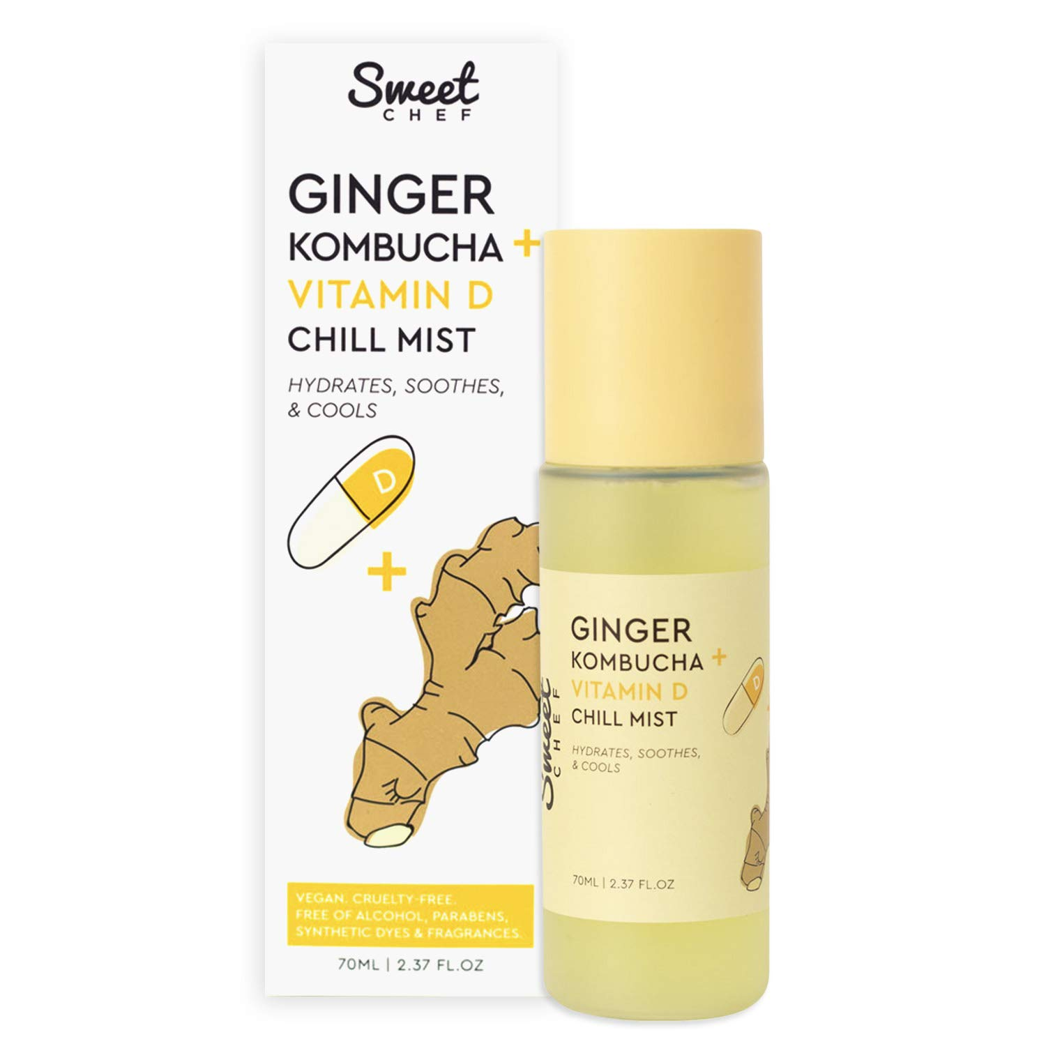 Sweet Chef Ginger Kombucha + Vitamin D Chill Mist - Hydrating Antioxidant-Rich Face Spray - Fights Free Radical Damage, Soothes Skin + Boosts Radiance (70ml / 2.37 fl oz)
