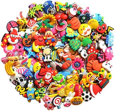 5bcc15e86 Different 100 Pcs PVC Shoe Charms for Crocs and Jibbitz Bands Bracelet  Wristband