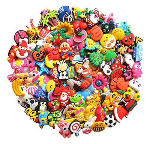 Different 100 Pcs PVC Shoe Charms for Crocs and Jibbitz Bands Bracelet Wristband]()