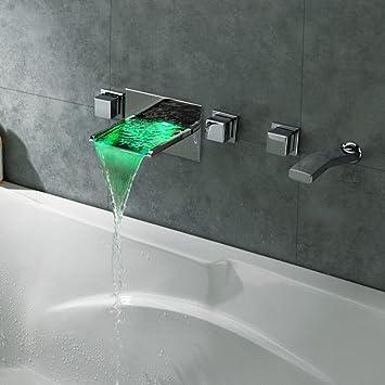 Kunmai moderne robinet mitigeur de baignoire Montage mural Cascade ...