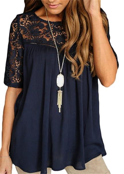 SHUNLIU Camisetas Mujer Blusas de Mujer Calado Bordado de Crochet Camisa del Cordón de la Blusa