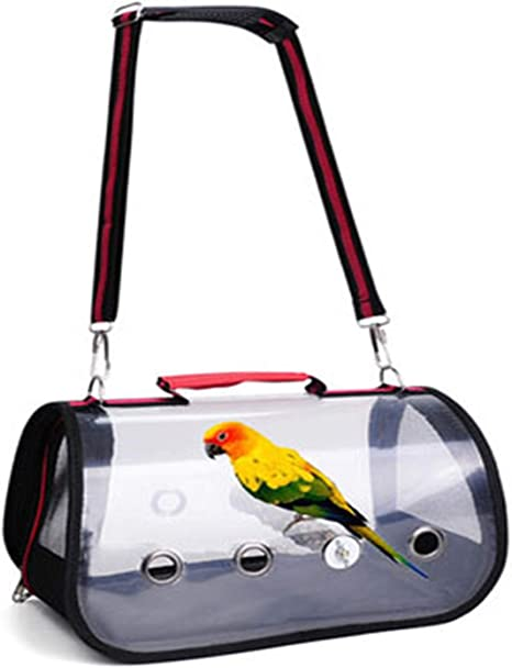S, Black Lucky Youth Bird Carriers Pet Parrot Carrier Bird Travel Bag Space Capsule Transparent Backpack Breathable 360/°Sightseeing Pet Backpacks with Standing Perch