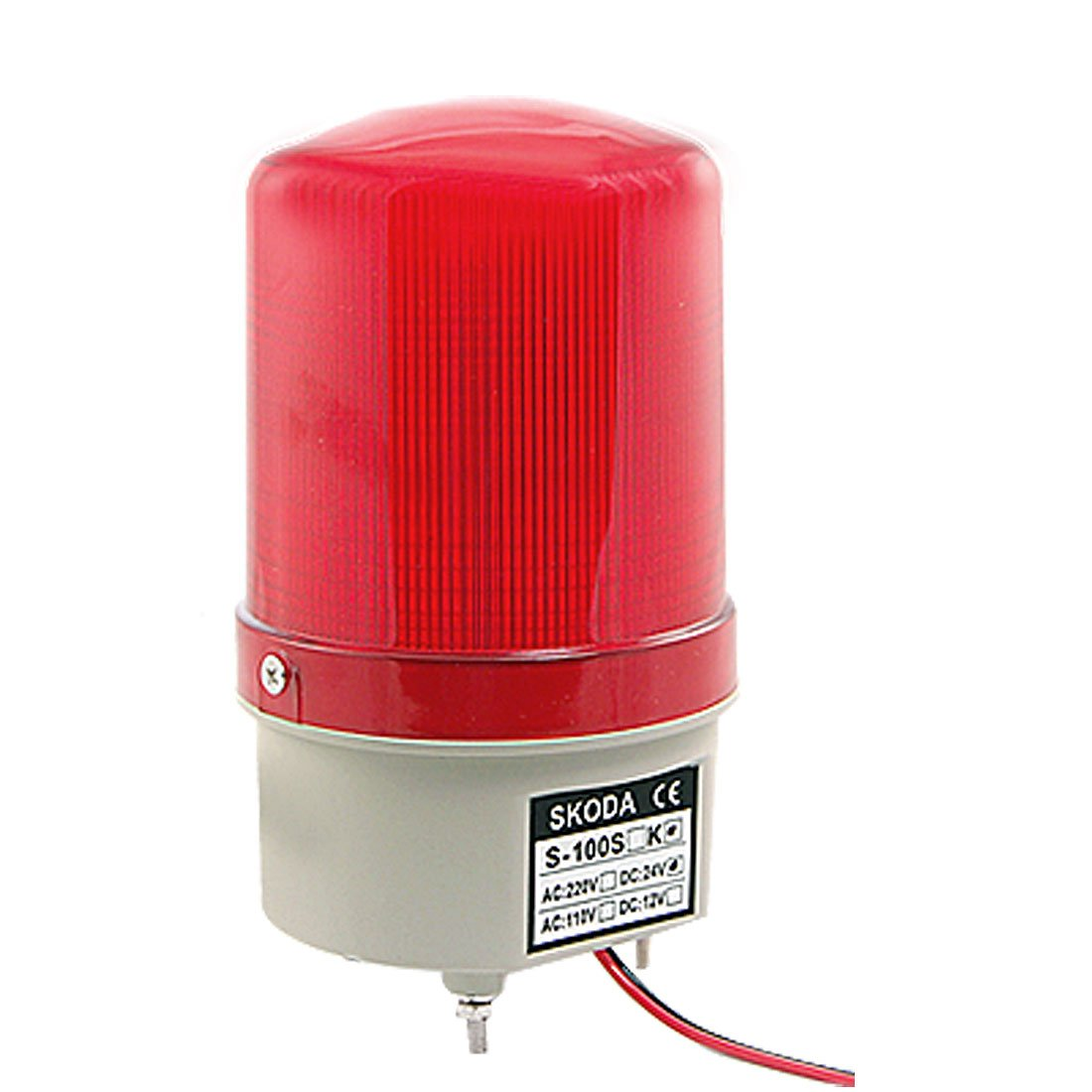 uxcell DC24V Flash LED Industry Signal Tower Buzzer Siren Warn Bulb Red Light