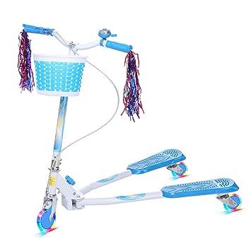 Befied Scooter Patinete Plegable de 3 ruedas Speeder Y-Scooter para niños más de 5 años con luz en la rueda Auto Equilibrio, Alta Seguridad