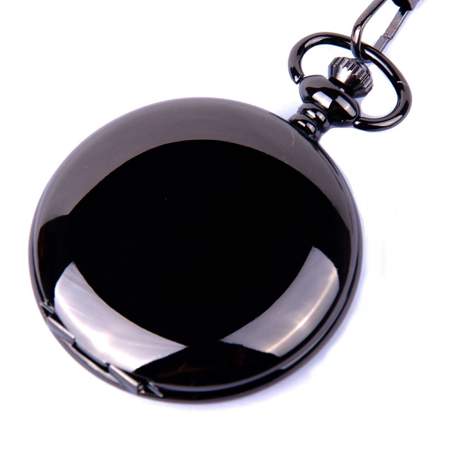 | CSMARTE Classic Smooth Surface Mechanical Black Pocket Watch with Chain
