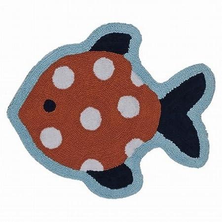 Circo Shaped Sealife Bath Rug Cotton Pile Fish Accent Bath Mat 26x30