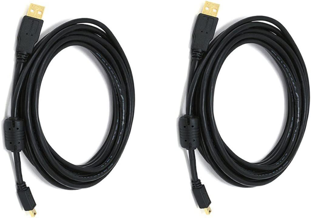 CNE612348 3 PCS USB 2.0 A Male to Mini-B 5pin Male 28 OR 24AWG Cable with Ferrite Core Gold Plated 1.5 Feet