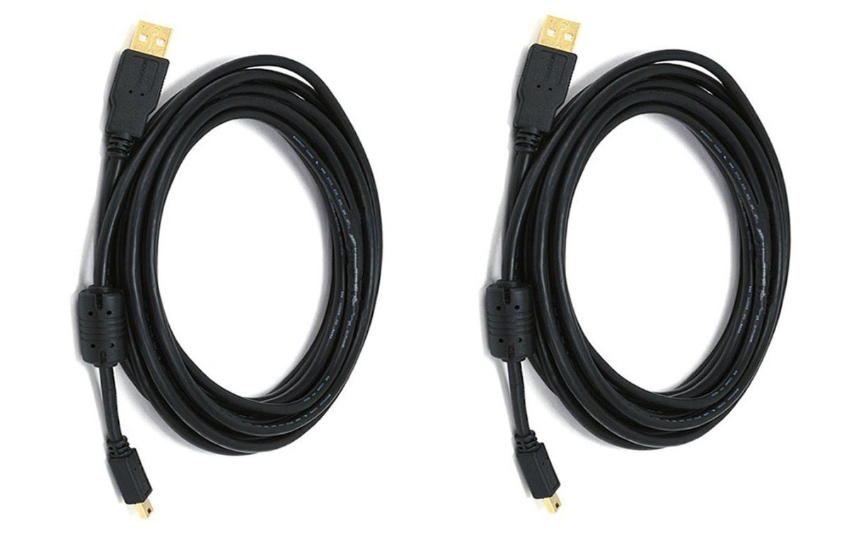 5 PCS USB 2.0 A Male to Mini-B 5pin Male 28 OR 24AWG Cable with Ferrite Core Gold Plated 1.5 Feet CNE612362