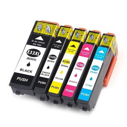 oyat® Compatible para T3351 T3361 T3362 T3363 T3364 cartuchos de tinta para Epson XP-530 XP-630 XP-635 XP-830 Impresoras (Pack de 5)