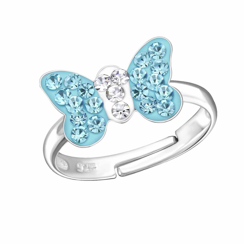 FIVE-D Damen und M/ädchenring Fingerring Schmetterling aus Kristall Gr/össe einstellbar aus 925 Sterling Silber im Schmucketui