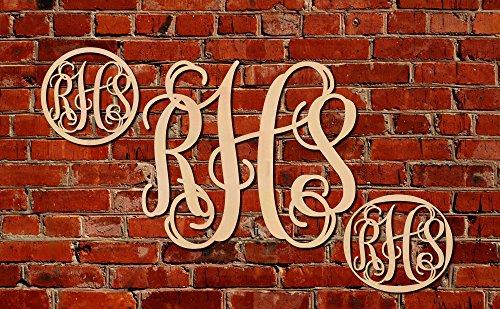 Vine Monogram Wood Cutout Shape DIY Craft Unfinished Unpainted (8 inch (Diy Monogram)