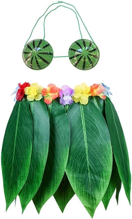 FAMLYJK Hawaiano Luau Falda de Hoja Verde Traje, Collares Pulseras ...