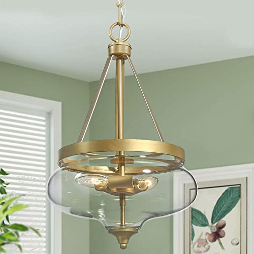 KSANA Gold Chandelier, Modern Glass Pendant Lighting Fixture for Dining Room, Entryway, Living Room, Kitchen, Bedroom 3 Lights, Fishbowl Shaped
