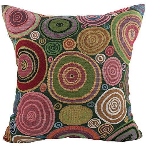 Luxbon - Circles Tapestry Jacquard Cotton Linen Sofa Chair Seat Throw Pillow Case Cushion Cover 18 x 18/45X45CM Insert Not Included