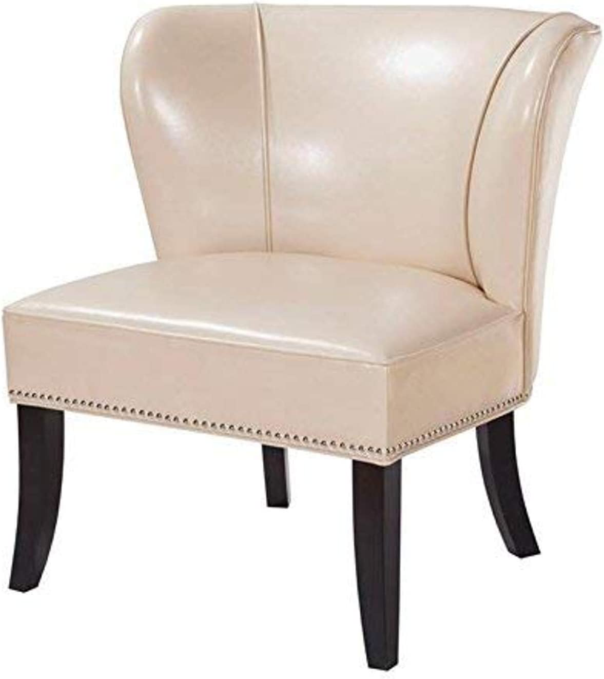 Madison Park Hilton Accent Chairs - Hardwood, Plywood, Wing Back, Deep Seat-Bedroom Lounge Modern Classic Style Living Room Sofa Furniture, Ivory