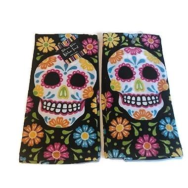 Ritz Sugar Skull Halloween Kitchen Dish Towel 2 pk. Set