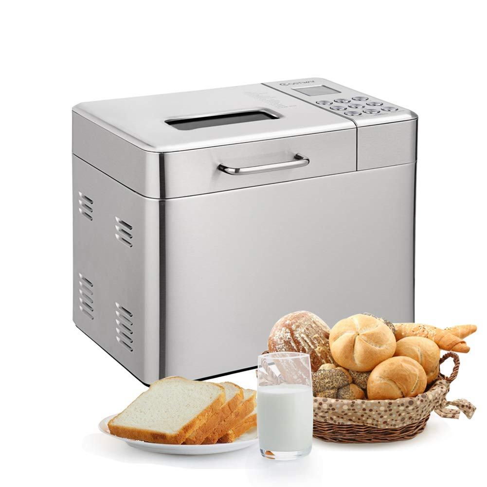Automatic Bread Maker with 15 Programs,Safeplus 2LB Programmable Bread Machine with 15 Hours Delay Timer, 1 Hour Keep Warm