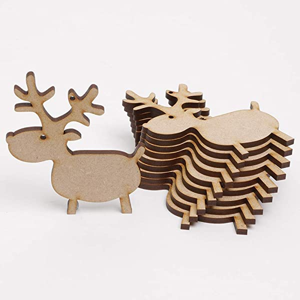 Wooden 3mm MDF Laser Cut Craft Shape Christmas Reindeer Embellishments Tags