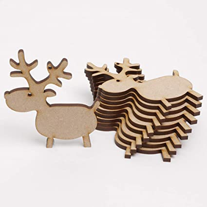Christmas Reindeer Cartoon.10 X Rudolph Reindeer Cartoon Mdf Wooden Blanks For Christmas Tree Craft Decorations Gift Tags