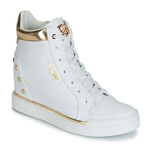 best website 8829d d4226 Guess Scarpe Donna Sneakers Alte con Zeppa Interna FL5FNLFAL12 Bianco