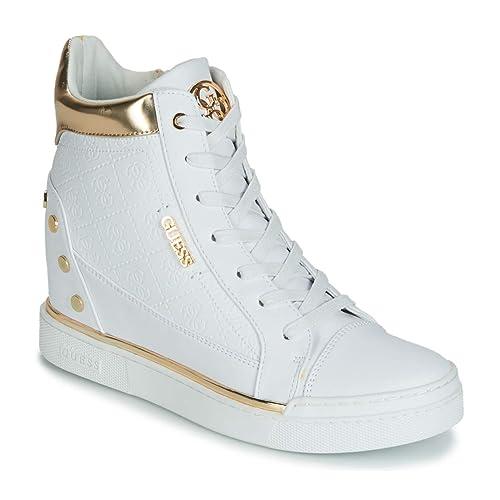 best website a3da2 6bad6 Guess Scarpe Donna Sneakers Alte con Zeppa Interna FL5FNLFAL12 Bianco