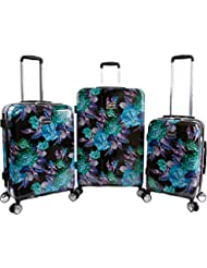 BeBe Womens Rosette 3 Piece Set Suitcase with Spinner Wheels, Black/Purple