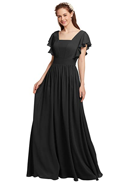 AW Chiffon Bridesmaid Dresses with Butterfly Sleeves Plus Size Maxi Prom  Dresses Long Evening Dresses