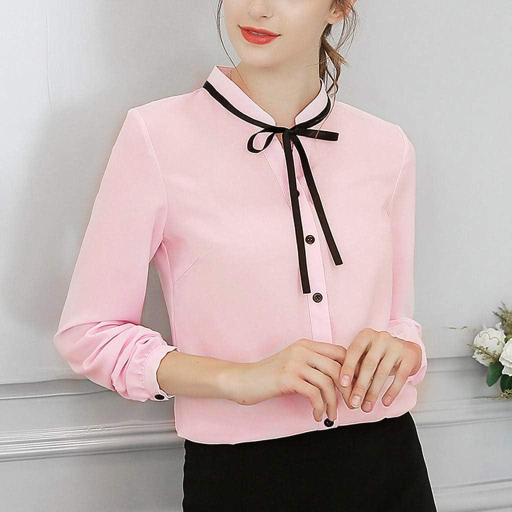 Daoope Shirt Donna Sexydonna Lavoro Ufficio Manica Lunga Cravatta Bow Camicia Chiffon Camicetta Top