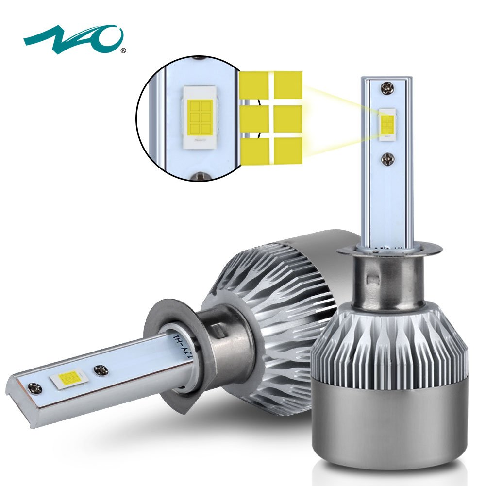 H1 LED Headlight Bulb,NAO Car LED Headlights Conversion Kit with Advanced  LED Chip,72W 7600LM 6500K- 1 Yr Warranty
