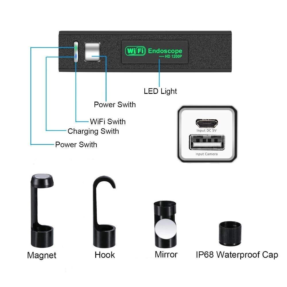 Radjawali WiFi Endoscope Camera HD 1200P 5M Mini Waterproof Hard Wire Wireless 8mm 8 LED Borescope Camera for Android PC iOS