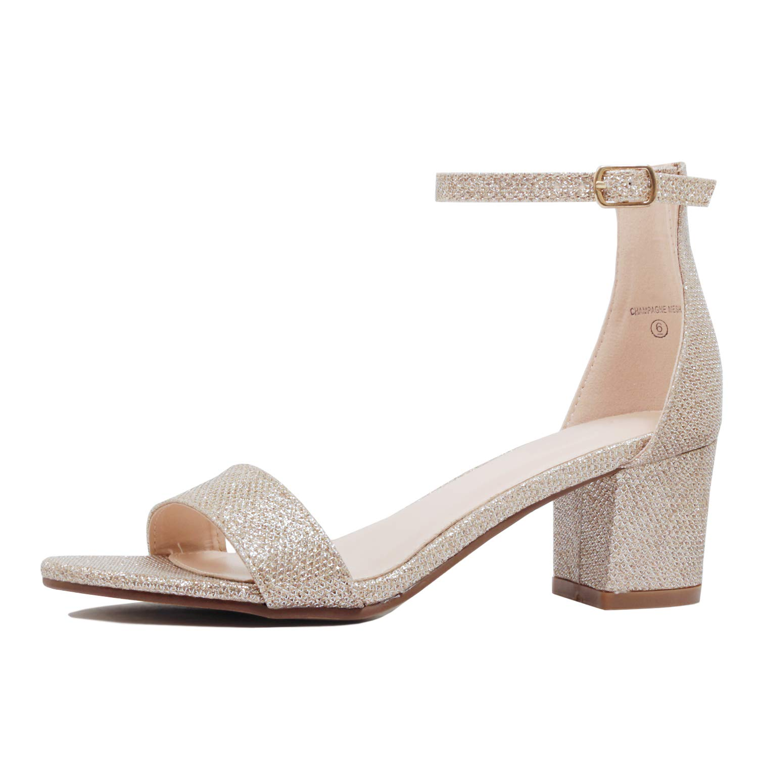 Guilty Shoes - Womens Ankle Strap Single Band Sandals - Low Chunky Block Comfortable Office Heeled Sandals (10 B(M) US, 09 Champagne)