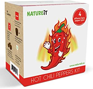 Hot Chili Peppers Seed Starter Kit - Grow 4 Spicy Peppers from Seeds. Habanero, Jalapeño, Tabasco, Cayenne. All-in-One Indoor / Outdoor DIY Beginners Grow kit. Perfect for Food & Gardening Lovers