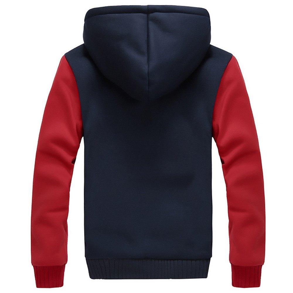Yumso Homme Sweat-Shirt /à Capuche Manches Longues Automne Et Hiver De Couleur Unie Hiver Doubl/ée Polaire Patchwork Manteau d/écontract/é pour Hommes Sweats /à Capuche Grande Taille Top M-5XL