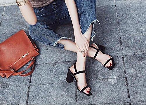 8 mujer Moda de de labios ranurada Sandalias AJUNR 39 Zapatos Transpirable pescado cm con elegante audaces Shoes alto negro banda 38 Heel de vZqcwYYd86