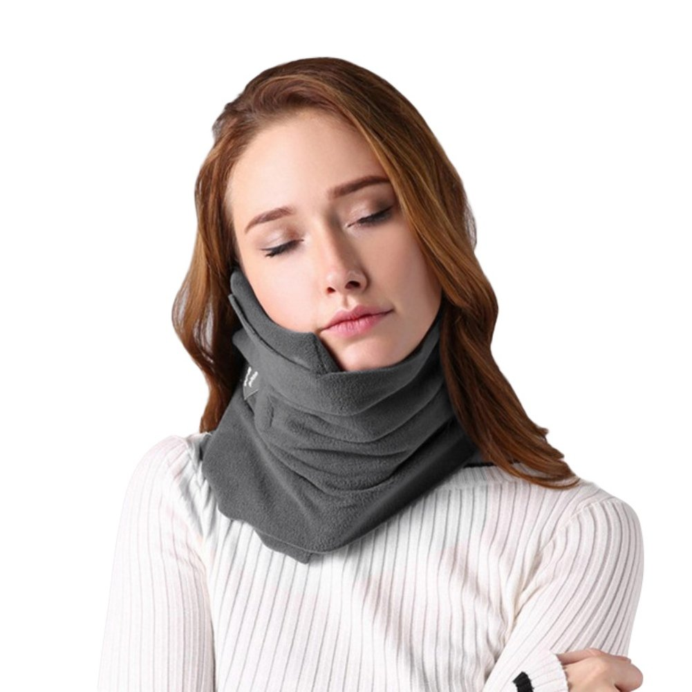 Travel Pillow Scarf,Soft Flight Neck Support Pillow,Machine Washable, Comfortable,Compact,Lightweight - Easily attaches to Luggage for Long-haul Airplane/Train/Car/Bus Travel Nap Rest Sleep (Grey) SSAWcasa