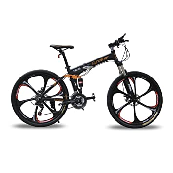 Amazon.com : Cyrusher FR100 Folding Mountain Bike Full Suspension 24 ...
