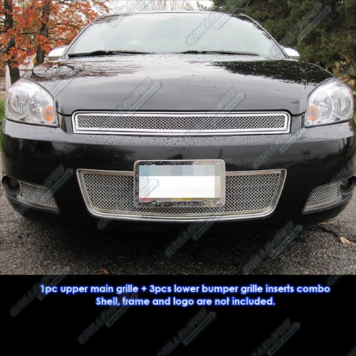 Grille Emblem Impala - APS Fits 2006-2013 Chevy Impala Mesh Grille Grill Insert Combo #C77817T