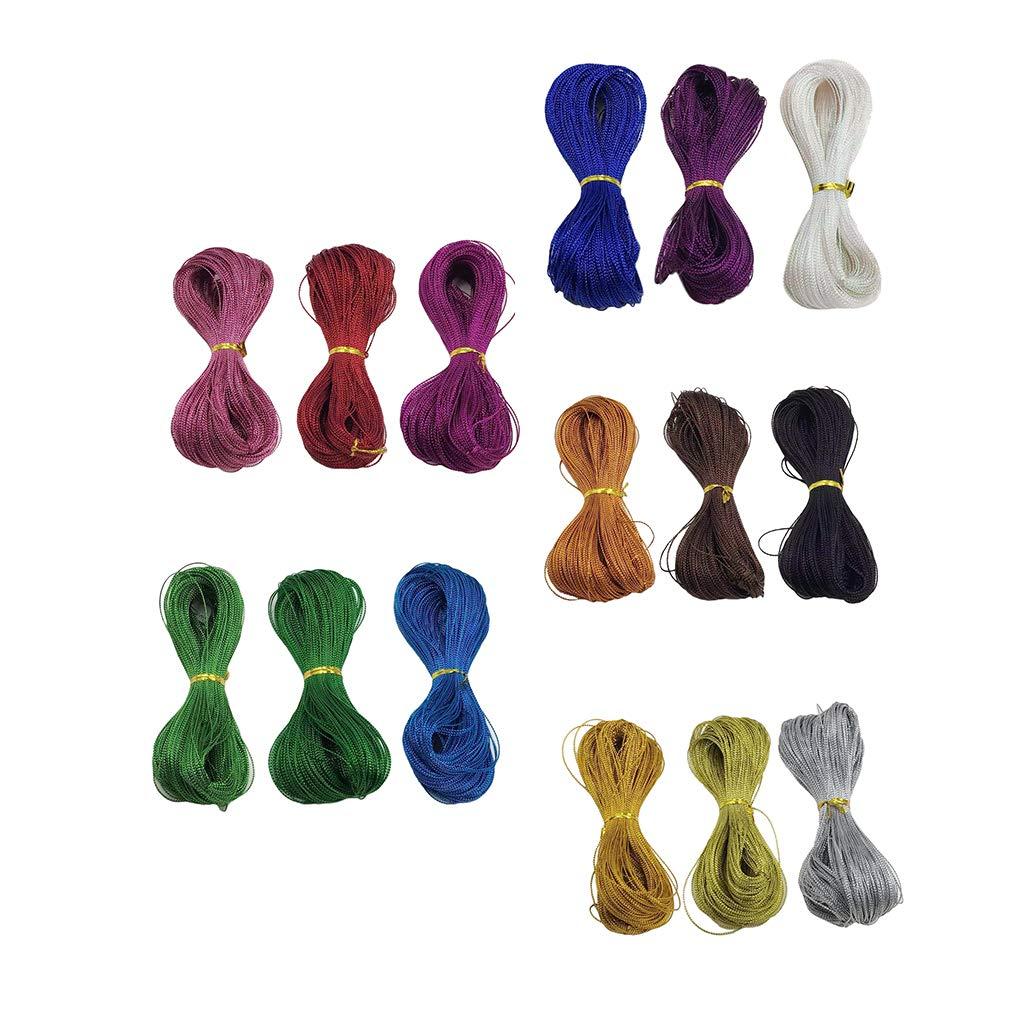 Combo 1 100yardx3 IPOTCH 3pcs Fils de Soie Couleurs Mixtes pour Fabrication de Bijoux Artisanat Bricolage Pendentif Accessoires de Bijouterie