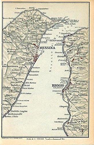 Messina Sicily & Reggio Italy 1930 color lithograph city plan map