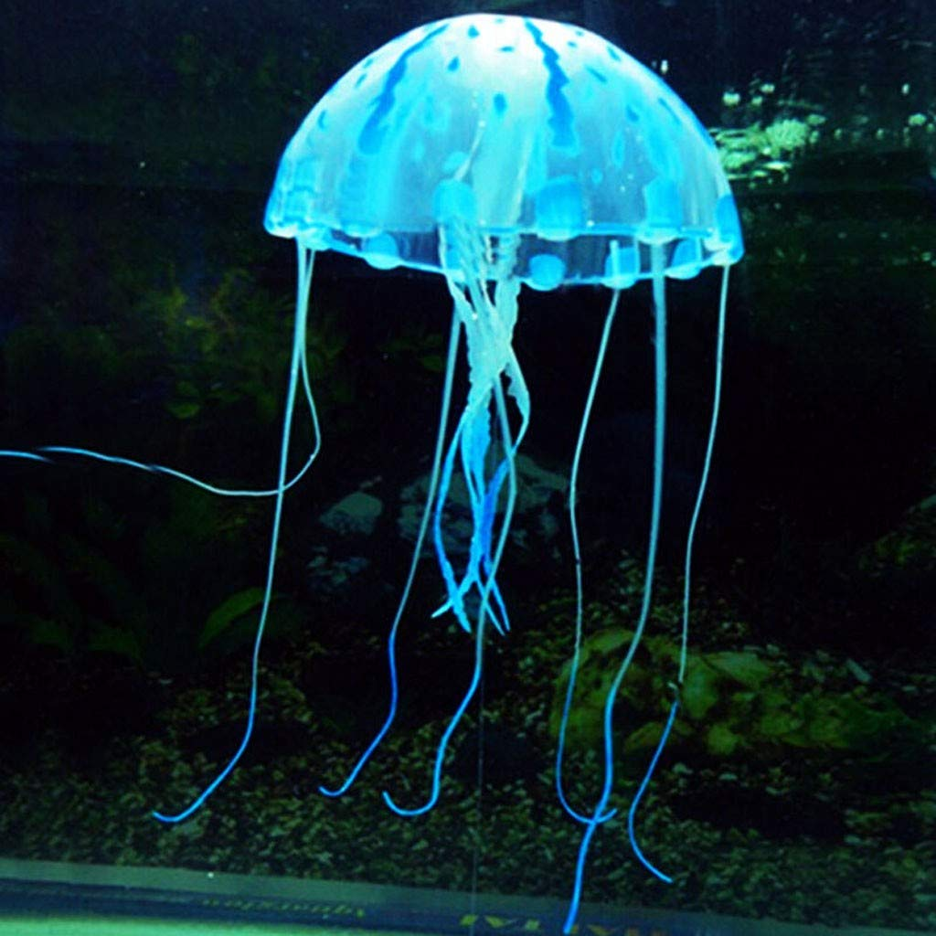 Newdiva Jellyfish Aquarium Decorations,Silicone Fish Tank Ornaments Adds Beauty to Freshwater and Saltwater Tanks and Terrariums Colorful Decor Glows in Blacklight Pink