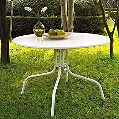 Crosley Furniture Griffith Metal 40-Inch Dining Table, White
