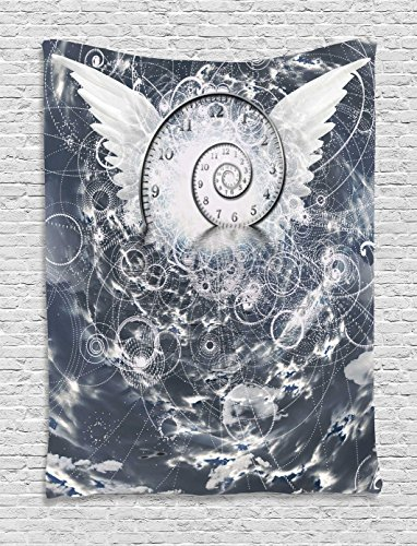 Ambesonne Psychedelic Tapestry, Surreal Paint with Wings and Time Spiral in Cloud with Circles Sacred Geometry Image, Wall Hanging for Bedroom Living Room Dorm, 40 W x 60 L Inches, Grey