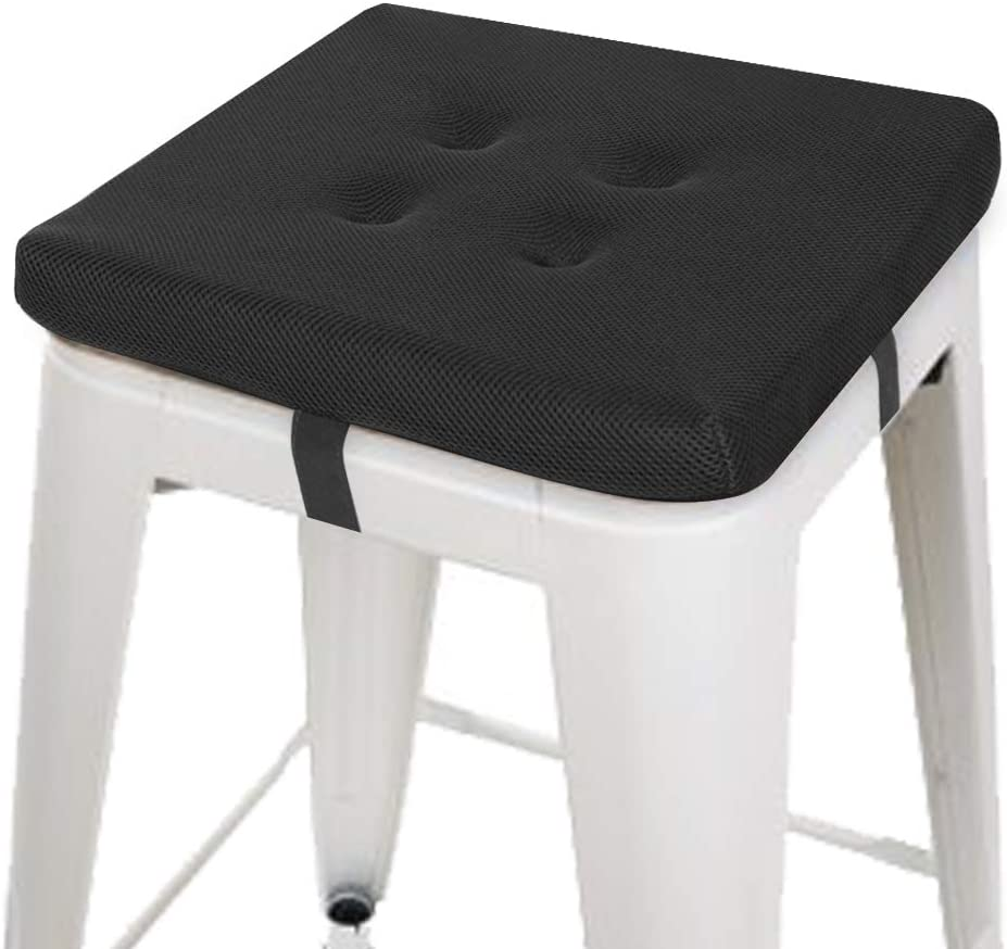 Baibu 12 Inches Square Stool Cushions With Ties For Bar Stool Breathable Square Chair Pads Seat Cushions With Anti Slip Mat One Pad Only 12 Black Velcro Kitchen Dining