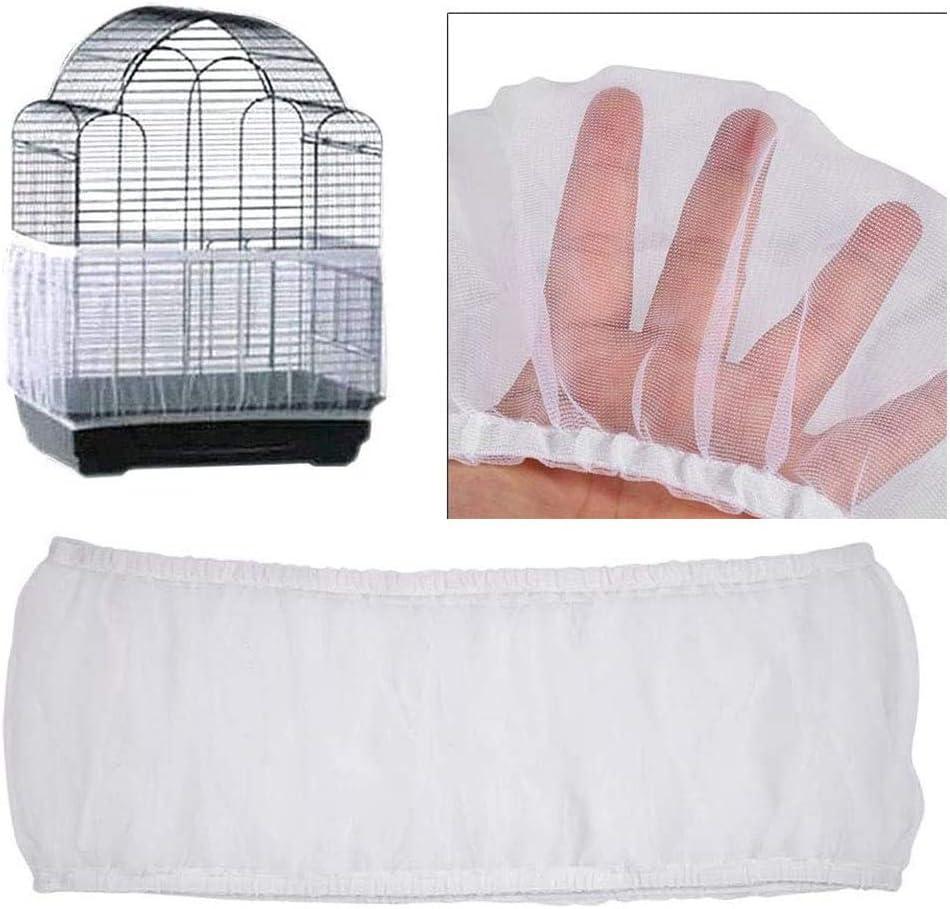 Cubierta de Malla para Jaula de Pájaros, Rejilla de Nailon Universal para Mascotas, Pájaros, Jaula para Loros, Receptor de Semillas, para Pájaros, Loros, Mascotas (Blanco)