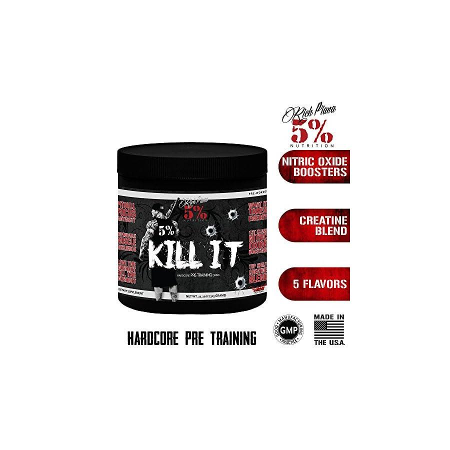 Rich Piana 5% Nutrition KILL IT Pre Workout (Blue Raspberry) 11.11oz (315 GRAMS) 30 Servings